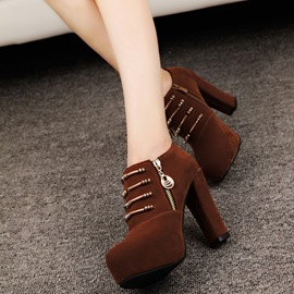 Ericdress Popular Chain Plain Chunky Heel Ankle Boots