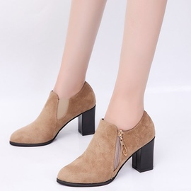 Ericdress Plain Side Zipper High Heel Ankle Boots