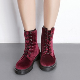 Ericdress All Match Suede Lace-Up Plain Martin Boots