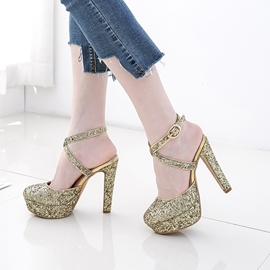 Ericdress Glittering Strappy Platform Chunky Sandals