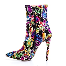 Ericdress Appliques Side Zipper High Heel Embroidered Boots