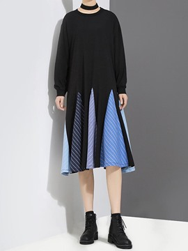 Ericdress Pleated Color Block Casual Long Sleeve Dress
