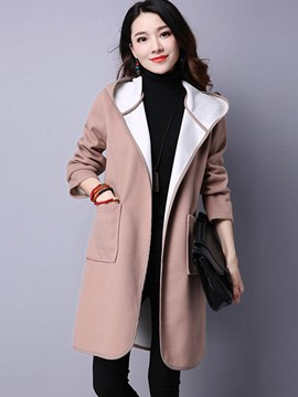 Ericdress Mid-Length Wrapped Hooded Coat