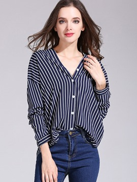 Ericdress Loose Stripe V-Neck Button Blouse