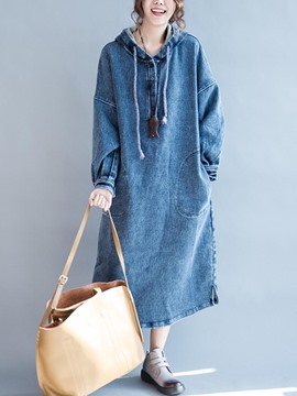 Ericdress Hooded Denim Plain Long Sleeves Casual Dress