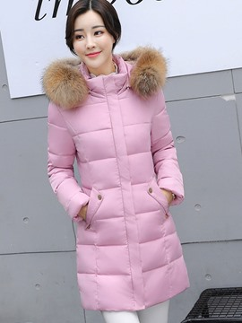 Ericdress Plain Fur Collar Mid-Length Coat