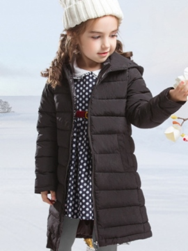 Ericdress Thick Mid-Length Plain Cotton Coat With Pompon Hoodie Girls Outerwear