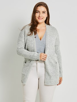 ericdress plus-size mittellanger Strickjacke