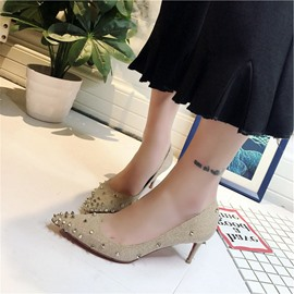 Ericdress Rivet Slip-On Pointed Toe Stiletto Heel Pumps