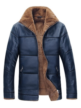 Ericdress Zip Flocking Warm PU Leather Casual Men's Winter Coat