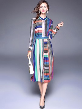 Ericdress Stiped Print Long Sleeve Maxi Dress