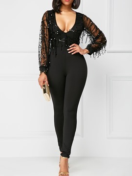 Ericdress Mesh See-Through Sequins Jumpsuits Pants