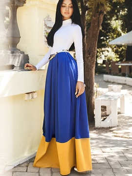 Ericdress Expansion Long SLeeve Color Block Maxi Dress