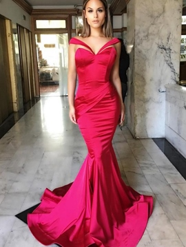 Ericdress Mermaid Off-the-Shoulder Pleats Court Train Evening Dress