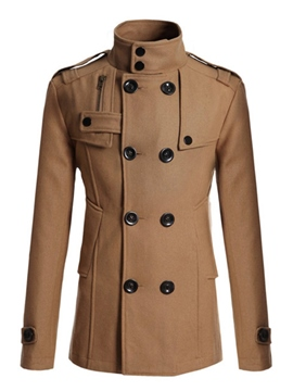 Ericdress Zip Double-Breasted Vogue Men's Woolen Coat