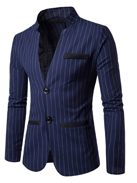 Ericdress Stripe Stand Collar Slim Men's Blazer