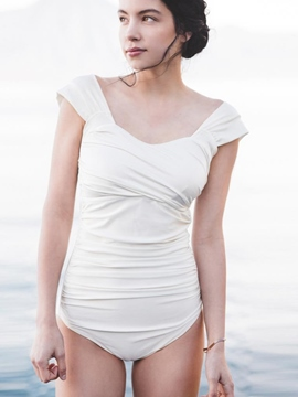 Ericdress Simple Plain Pleated Monokini