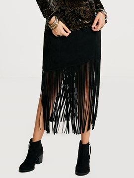 Ericdress Mid-Calf Tassel Patchwork Plain Women's Skirt