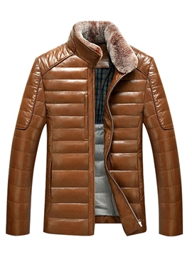 Ericdress Faux Leather Stand Collar Patchwork Men's Winter Coat
