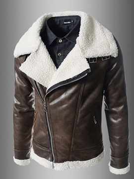 Ericdress Lapel PU Zip Faux Shearling Warm Unique Men's Jacket