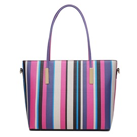 Ericdress Color Block Stripe PU Shoulder Bag