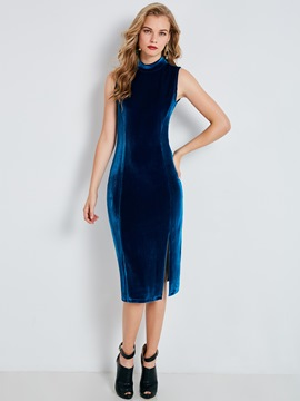 Ericdress Velvet Stand Collar Sleeveless Bodycon Dress