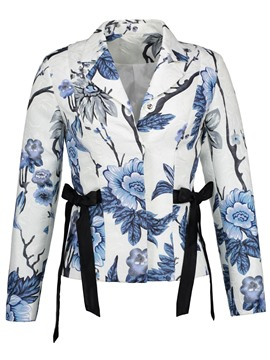 Ericdress Hidden Button Floral Print Jacket