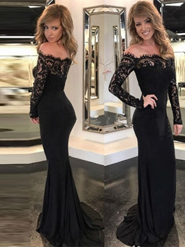Ericdress Off-the-Shoulder Lace Mermaid Evening Dress With Long Sleeves