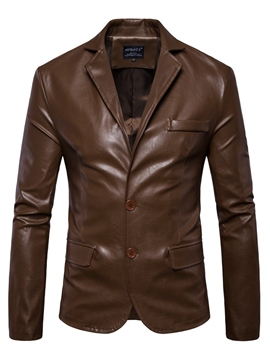 Ericdress Button PU Vogue Slim Men's Jacket