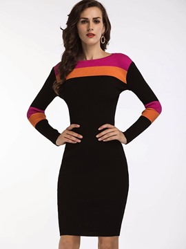 Ericdress Scoop Color Block Knee-Length Sweater Dress