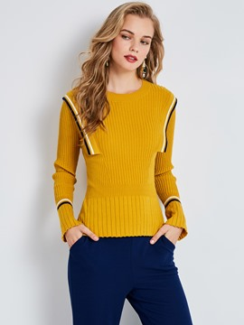 Ericdress Round Neck Flare Sleeve Knitwear