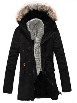Ericdress Hooded Faux Fur Men's Winter Coat