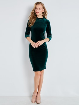 Ericdress Velvet Stand Collar Plain Bodycon Dress