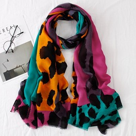 Ericdress Leopard Print Grid Suet Velvet Cozy Scarf for Women