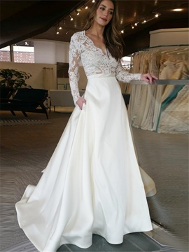 Ericdress V Neck A Line Appliques Long Sleeves Wedding Dress