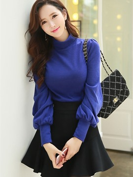 Ericdress Turtleneck Lantern Sleeve Plain T-shirt