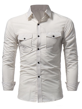 Ericdress Plain Pocket Long Sleeve Men's Shirt