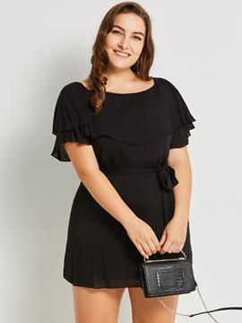 Ericdress Ruffle Sleeve Lace-Up Short Sleeve Casual Dress