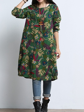 Ericdress Floral Print Long Sleeves Pocket Casual Dress