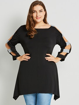 Ericdress Hollow Patchwork Plus-Size T-shirt