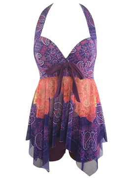 Ericdress Cashew Pattern Backless Asymmetric Tankini Set