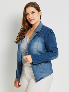 Ericdress Lapel Plus-Size Single-Breasted Denim Jacket