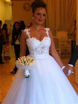 Ericdress Spaghetti Straps Appliques Ball Gown Wedding Dress