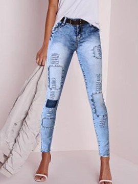 Ericdress Skinny Ankle Length Color Block Women's Jeans