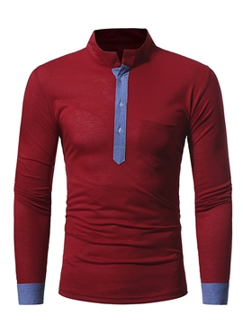 Ericdress Long Sleeve Stand Collar Patched Casual Men's T-Shirt