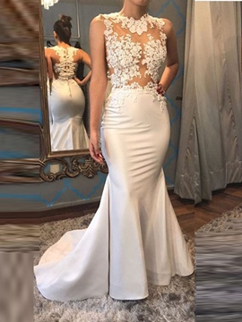 Ericdress Jewel Neck Applique Mermaid Evening Dress With Sweep Train