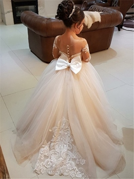 51ee520fec3 Ericdress Ball Gown Long Sleeves Appliques Tulle Flower Girl Dress