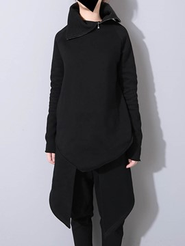 ericdress plain lose mid-length cool hoodie