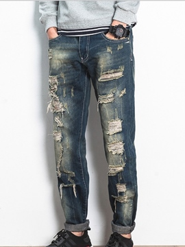 Ericdress Denim Holes Mid-Waist Casual Street Style Men's Pants