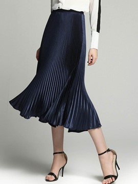 Ericdress Mid-Calf Pleated Women's Skirt
